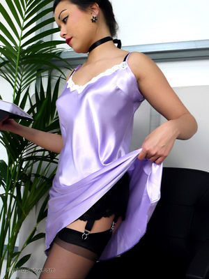 Stellar Chinese assistant undresses to her inviting stocking and demonstrates mounds at work