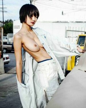 Asian model Miki Hamano posing topless