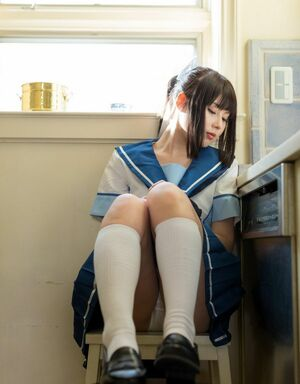 Beautiful japanese girl in school cosplay pics