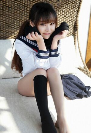 Candid photo shoot in school uniform, stockings and lacy white panties, asian gf